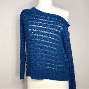 • Express • knit blue sweater, off the shoulder